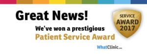 2017 Patient Service Award for great customer service